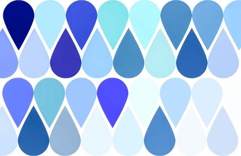 Teardrop shape in different shades and tones of blue