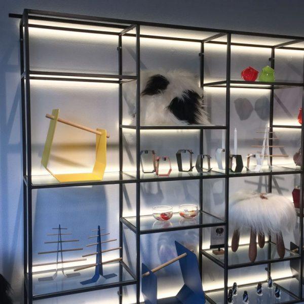 Shelves with interesting lighting design in Iceland