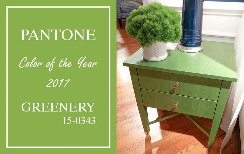 Thibaut wrapped green grasscloth side table