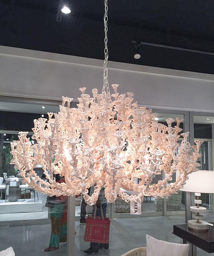 Ornate seashell chandelier coastal lighting