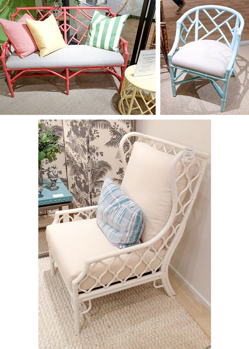 Painted rattan coastal furniure